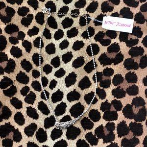 Betsey Johnson Gold Rhinestone Wing Necklace.